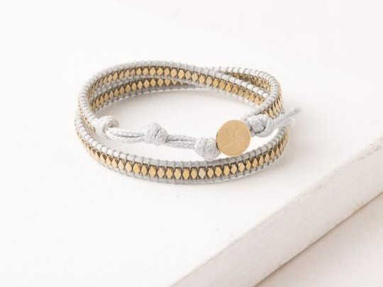 Sue White and Gold Starfish Pendant Wrap Bracelet