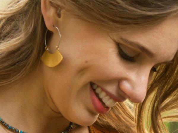 Harper Gold and Silver Hoop Dangle Earrings