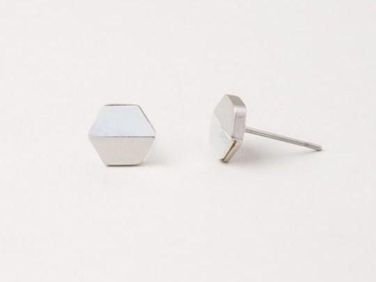 Dorothy Hexagon Shell Stud Earrings