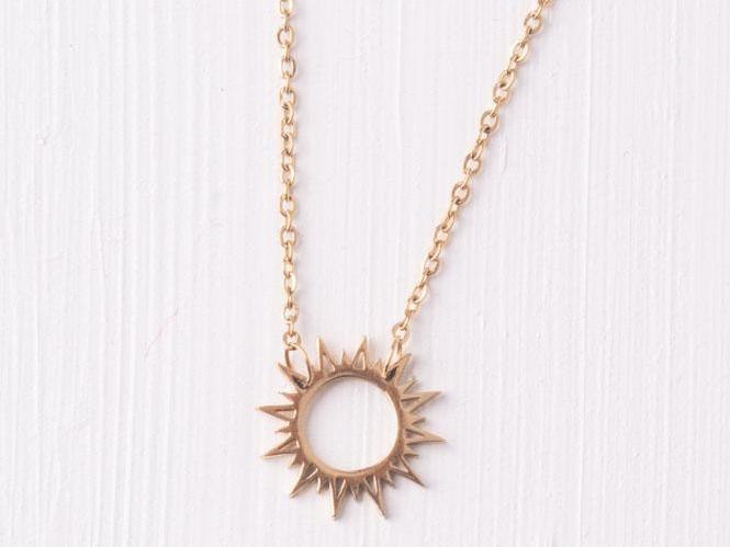 Mallory Gold Sun Pendant Necklace