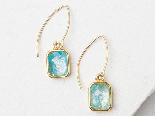 Alexa Sky Blue & Gold Earrings