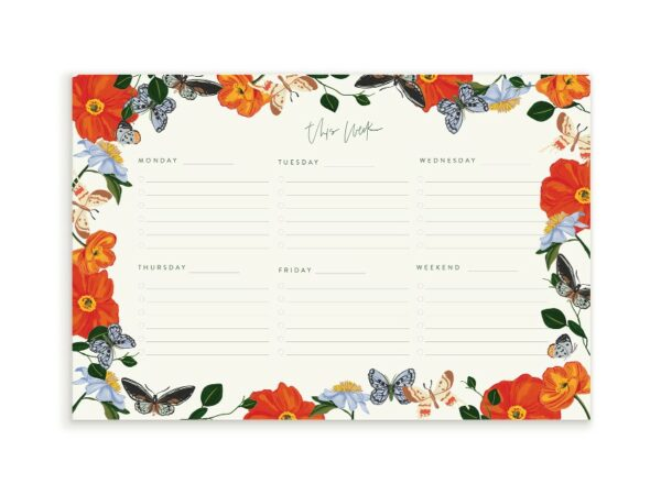 Butterfly Garden Weekly Notepad Planner