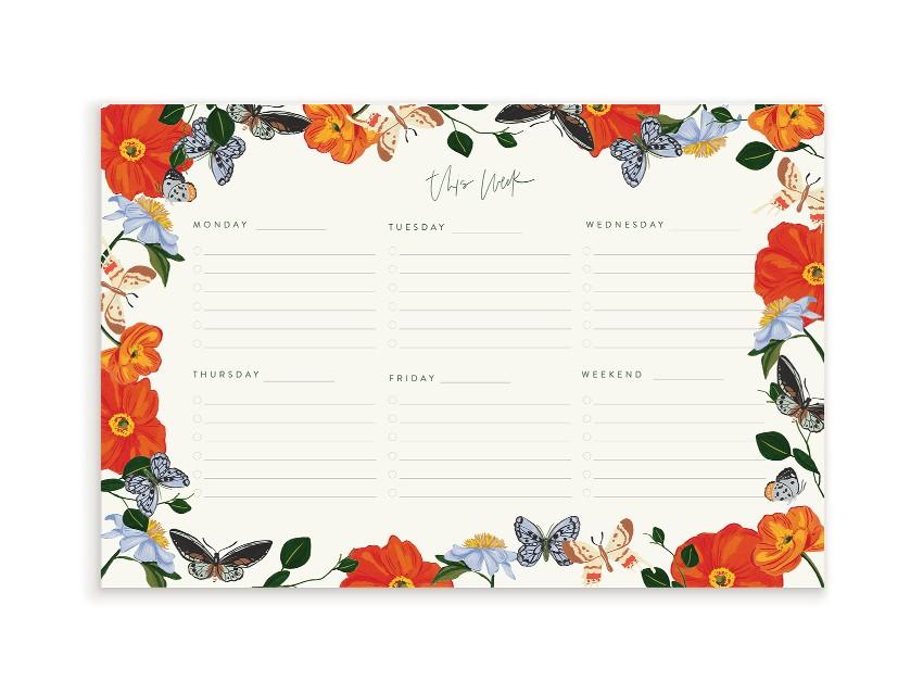 Butterfly Garden Weekly Notepad