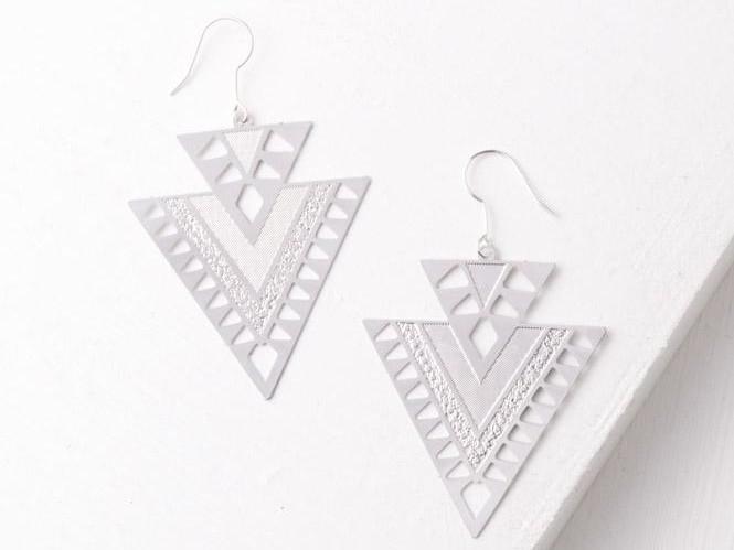 CiCi Silver Geometric Dangle Earrings