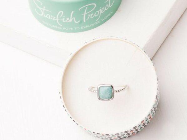 Gianna Silver & Amazonite Adjustable Ring