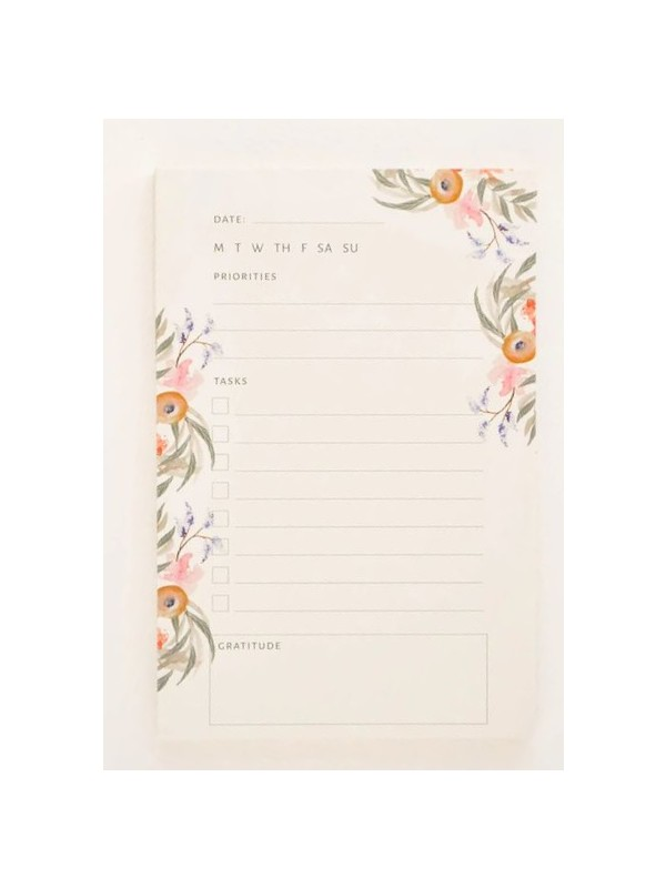 Floral Daily Task Writing Notepad