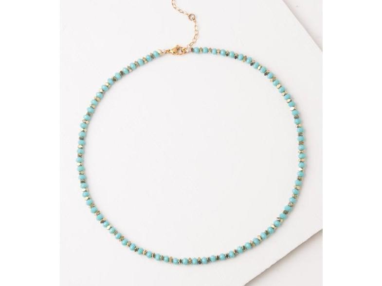 Joan Teal Beaded Choker Necklace