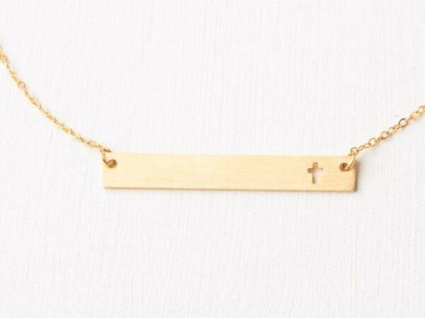 Layla Horizontal Gold Cross Bar Necklace