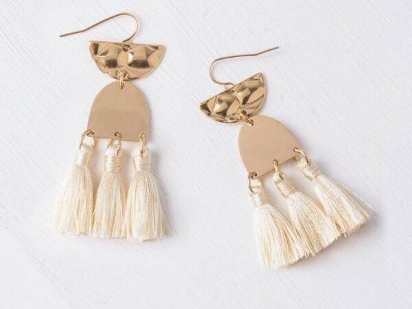 Amelia Beige Tassel Dangle Earrings