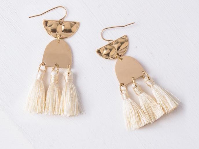 Amelia Beige Tassel Earrings