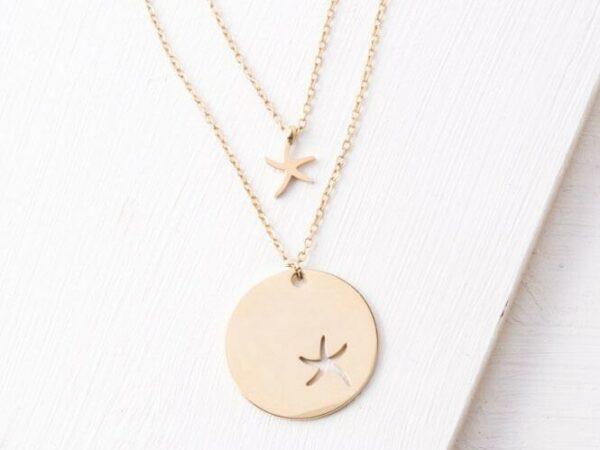 Community Gold Starfish Pendant Necklace Gift Set