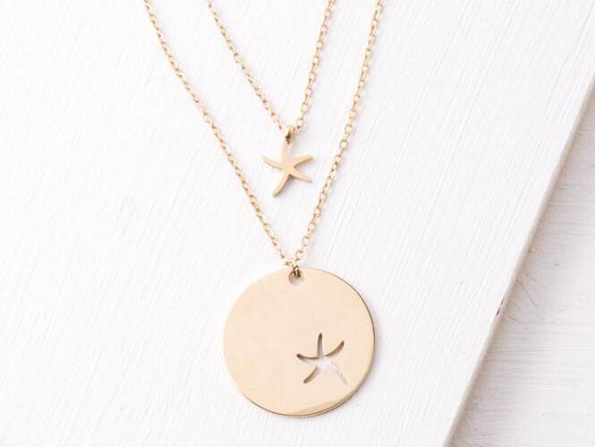 Community Gold Starfish Pendant Necklace Set