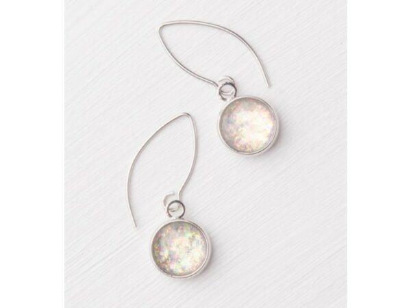 Ena Silver & White Opal Pendant Earrings