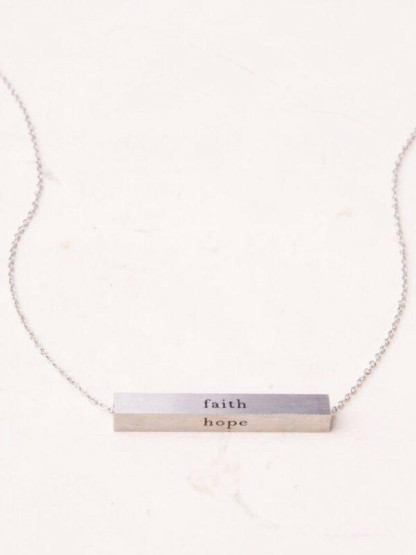 Faith Horizontal Silver Bar Necklace
