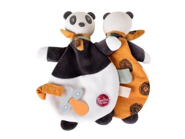 Pancha the Panda Lovey Toy with Natural Rubber Head