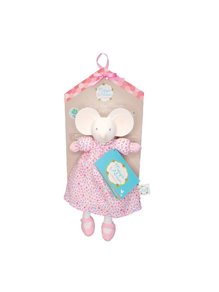 Meiya the Mouse – Lovey with Rubber Head in Floral Dress