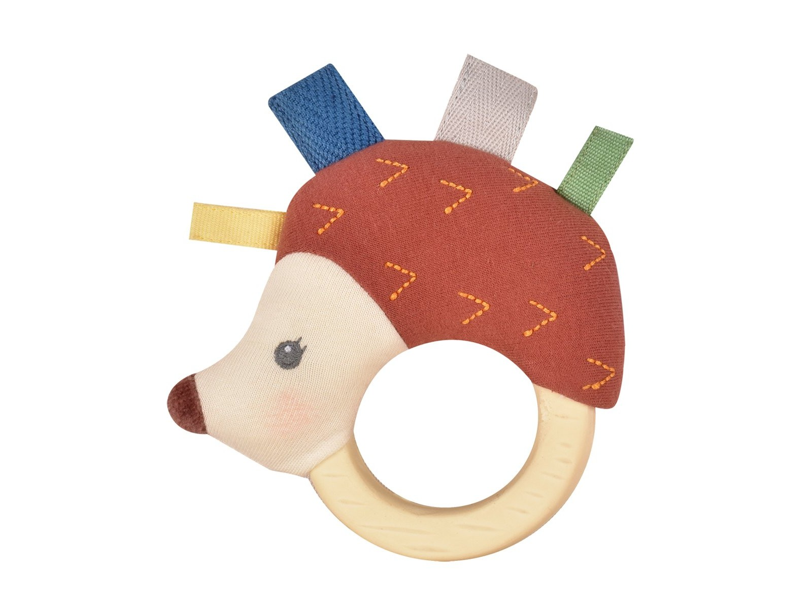 Ethan the Hedgehog Plush Rattle Toy With Rubber Teether