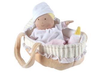 Carry Cot With Baby Grace, Bottle & Blanket
