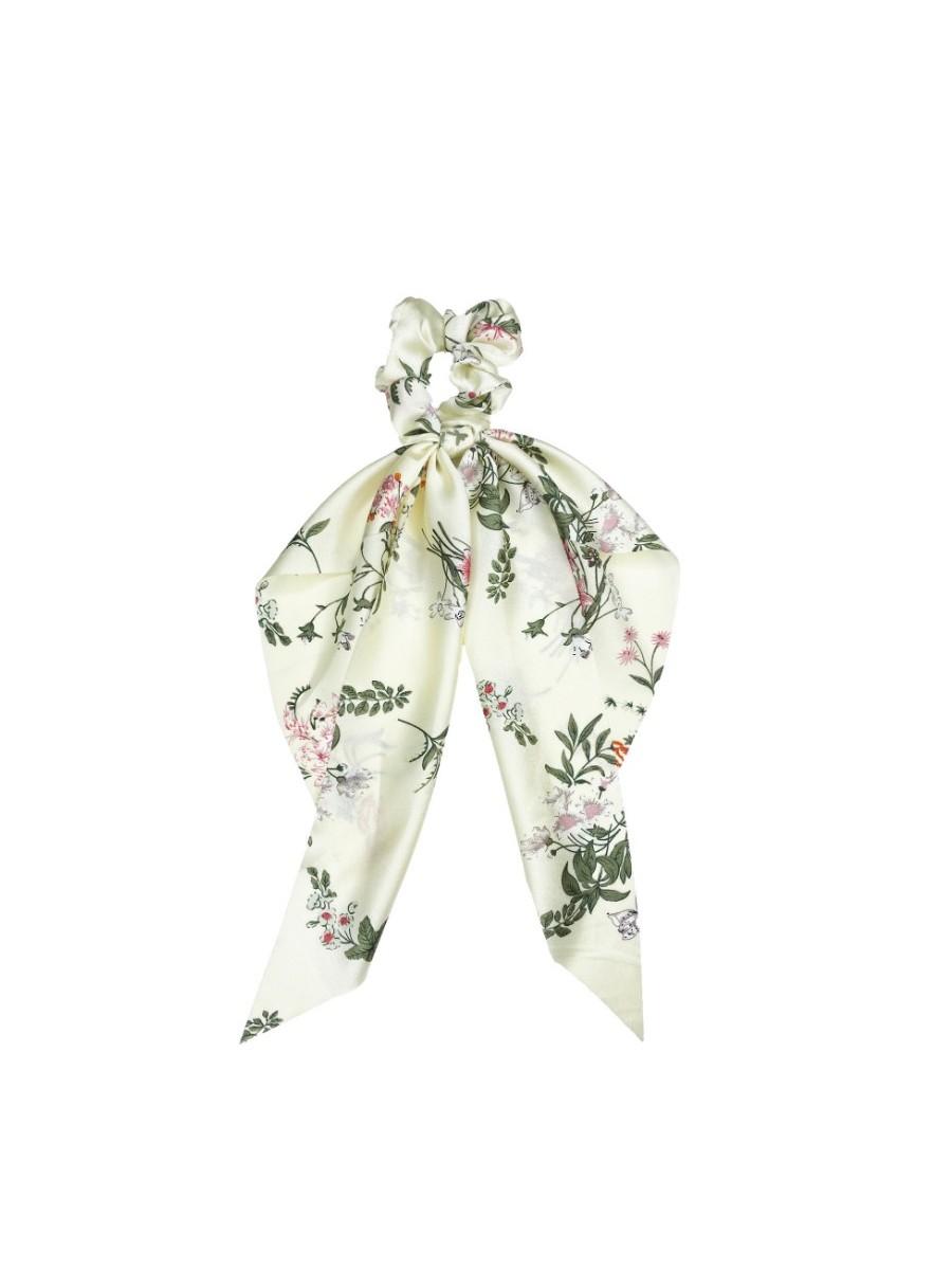 Delicate Floral Darling Scrunchie In Cream