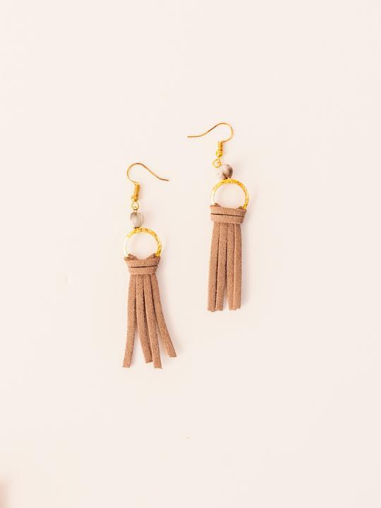 Suede Tassel Earrings in Mauve