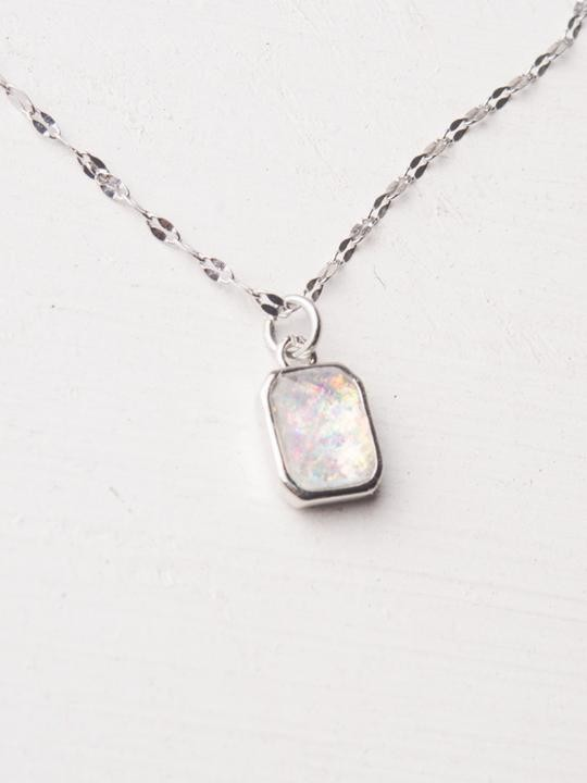 Lila White and Silver Pendant Necklace