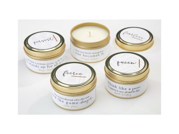 She Inspires Tin Candle