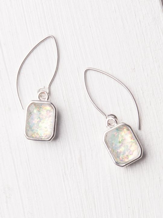 Alexa White and Silver Dangle Earrings