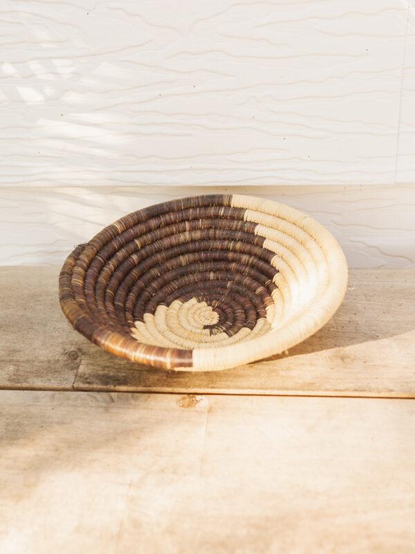 Small Handmade Woven Basket - Natural & Brown