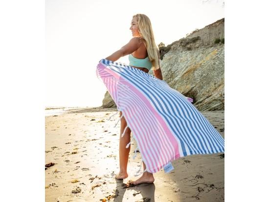 Amalfi Turkish Beach Towel – Denim Blue/Pink