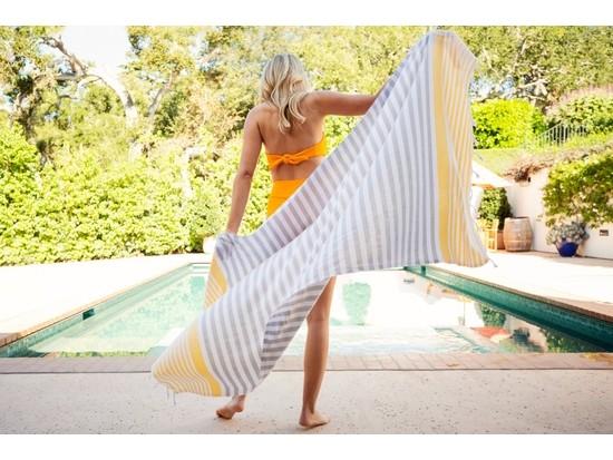 Amalfi Turkish Beach Towel – Grey/Yellow