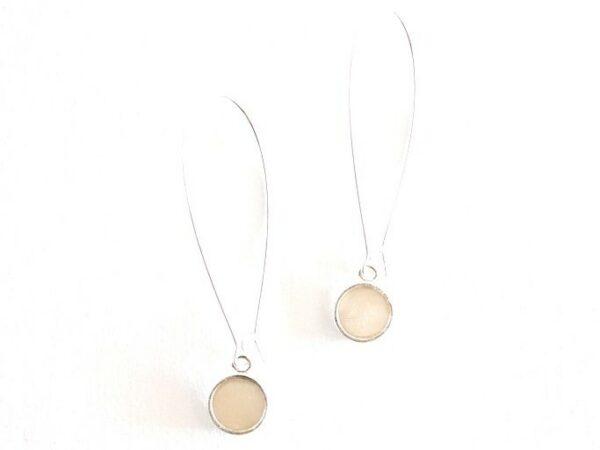 Angie Dangle Earrings - Silver Bone