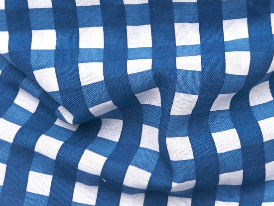 Classic Blue Check Pet Bandana - Large