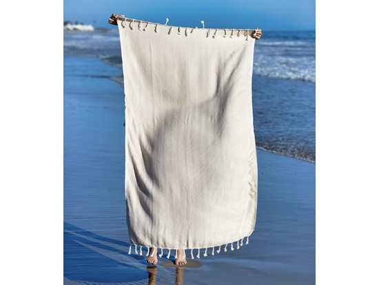 Chevron Turkish Towel - Beige