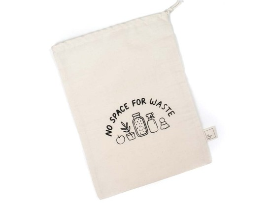 Large Organic Cotton Grocery Bulk Bag - No Space for Waste