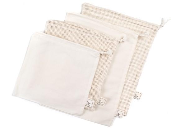 Organic Cotton Mesh & Muslin Bags – Set of 4