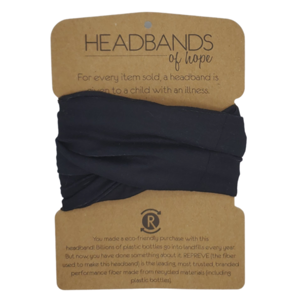 Solid Black Recycled Tube Headband