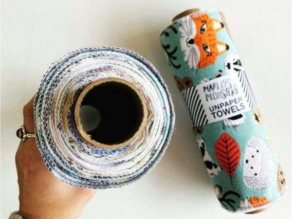 Reusable Rolled Unpaper Towels: 12-pack - Midnight Mosaic