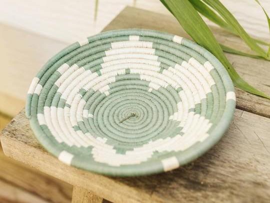 Small Handmade Woven Basket – Sage Flower