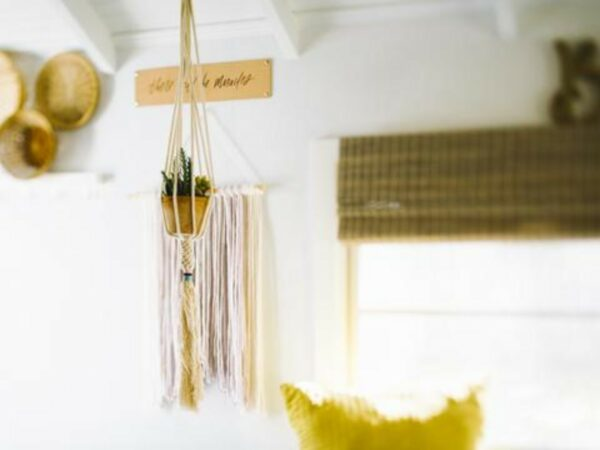 Hand-knotted Dignity Plant Hanger - Mustard Multi
