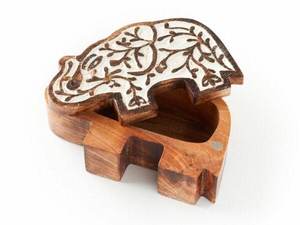 Elephant Antique Finish Pivot Keepsake Box