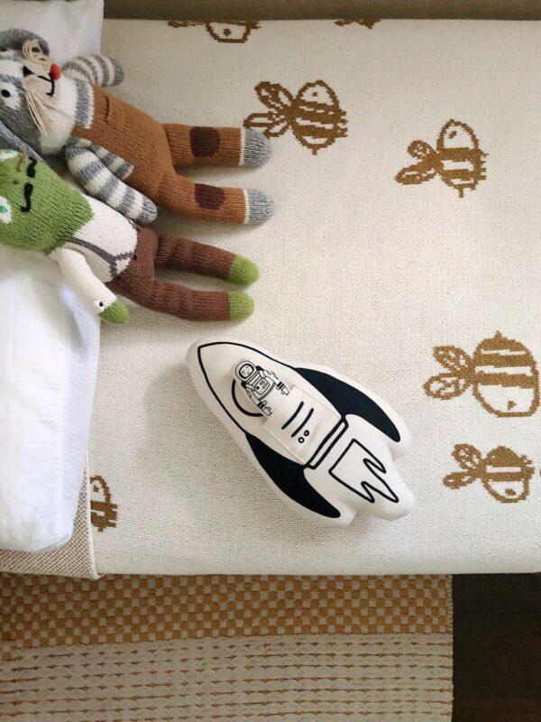 Rocket + Astronaut Natural Canvas Pillow