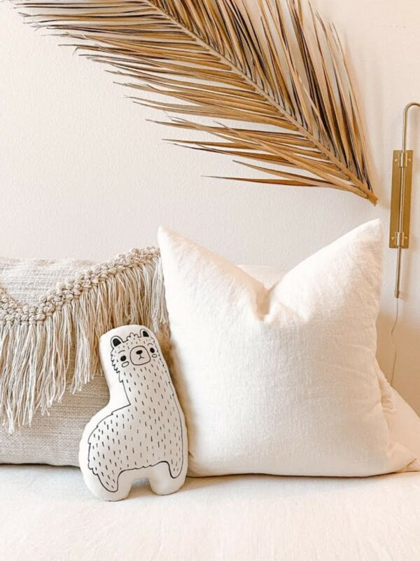 Llama Natural Canvas Pillow