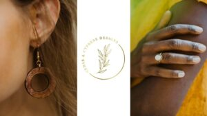 Handmade sustainable jewelry. Brown, wood hoop earrings, and a white ring. Jewelry made by Cedar & Cypress.