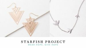 Gold, dangle earrings and a necklace with birds. Ethical, handmade jewelry by Starfish Project.