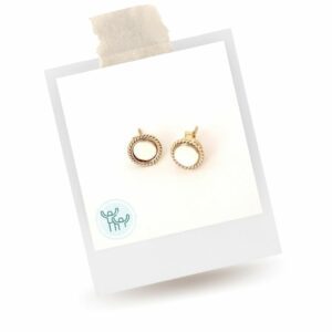 Rose gold earrings with white stone in middle. Earrings that empower.