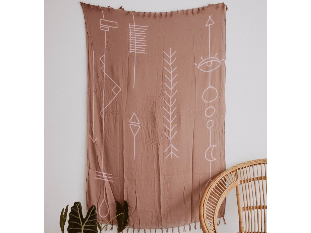 Abstract Multi-Purpose Tapestry - Dusty Rose