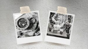 The history of spice and creating food. Black and white polaroids of cooking with spices.