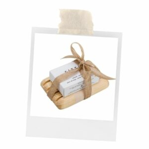 Natural Soap Gift Set includes a base and is wrapped in ribbon.
