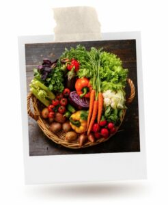 A basket full of fresh vegetables, a sustainable food choice