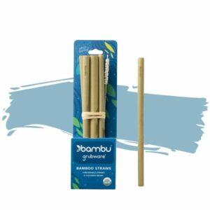 Bambu's Reusable Bamboo Drinking Straws – Set of 6. Eco-friendly gift.